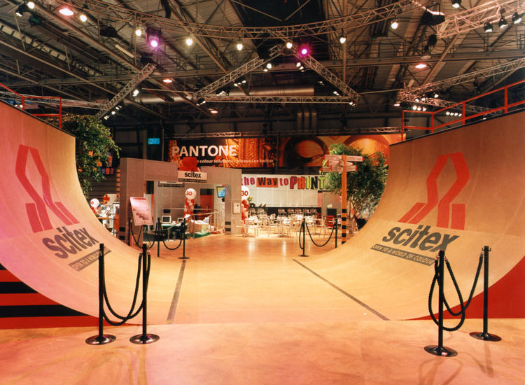 Scitex Europe booth with featured half-pipe ramp at IFRA (Birmingham, U.K.)